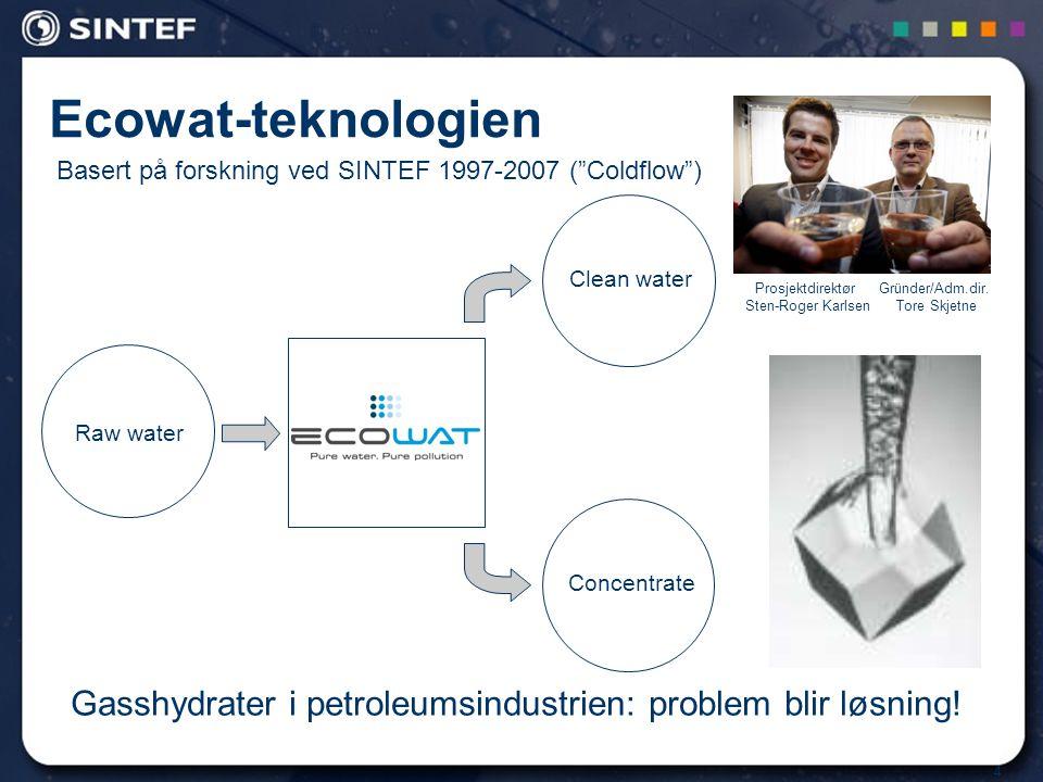 4 Ecowat-teknologien Gasshydrater i petroleumsindustrien: problem blir løsning.