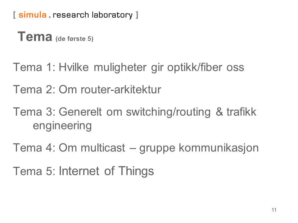11 Tema (de første 5) Tema 1: Hvilke muligheter gir optikk/fiber oss Tema 2: Om router-arkitektur Tema 3: Generelt om switching/routing & trafikk engi