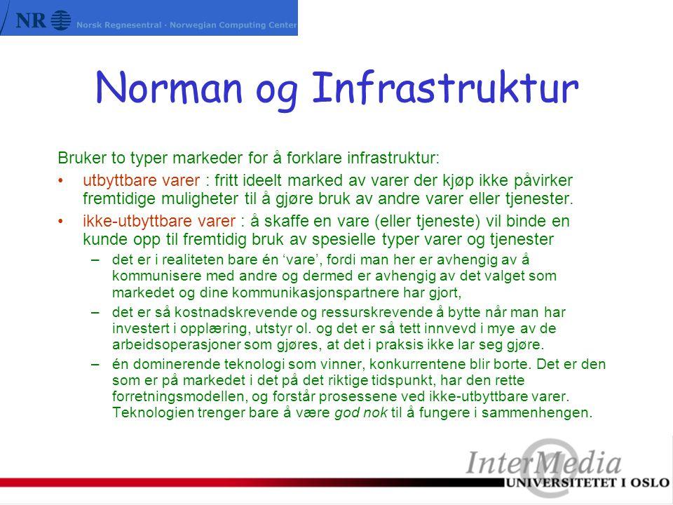 Norman og Infrastruktur Bruker to typer markeder for å forklare infrastruktur: utbyttbare varer : fritt ideelt marked av varer der kjøp ikke påvirker fremtidige muligheter til å gjøre bruk av andre varer eller tjenester.