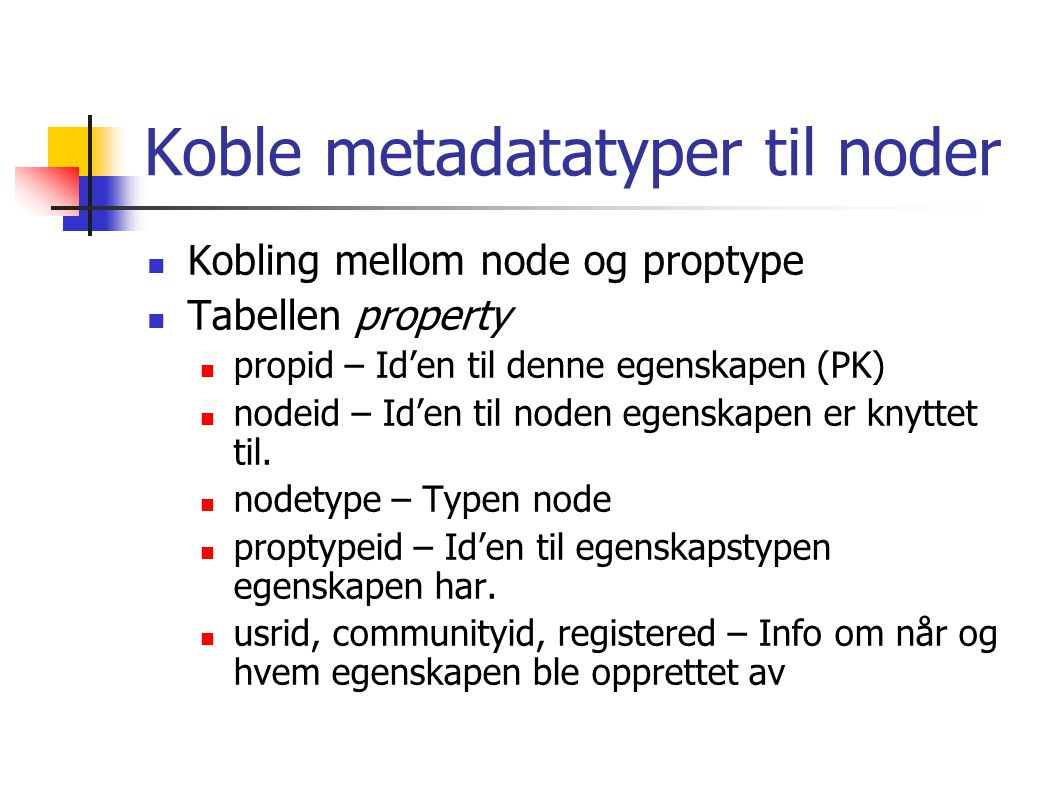 Koble metadatatyper til noder Kobling mellom node og proptype Tabellen property propid – Id'en til denne egenskapen (PK) nodeid – Id'en til noden egenskapen er knyttet til.