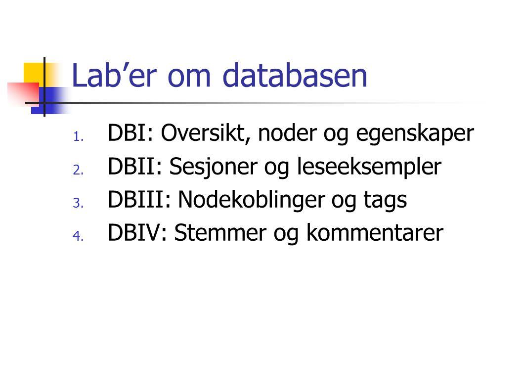 Lab'er om databasen 1.DBI: Oversikt, noder og egenskaper 2.