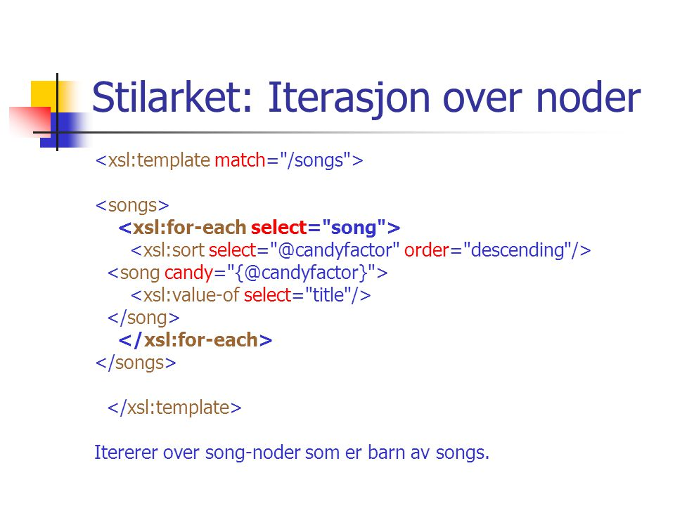 Stilarket: Iterasjon over noder Itererer over song-noder som er barn av songs.
