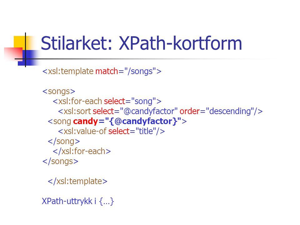 Stilarket: XPath-kortform XPath-uttrykk i {…}