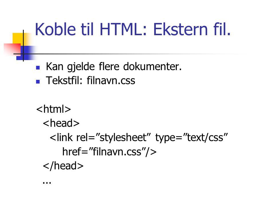 Koble til HTML: Ekstern fil. Kan gjelde flere dokumenter.