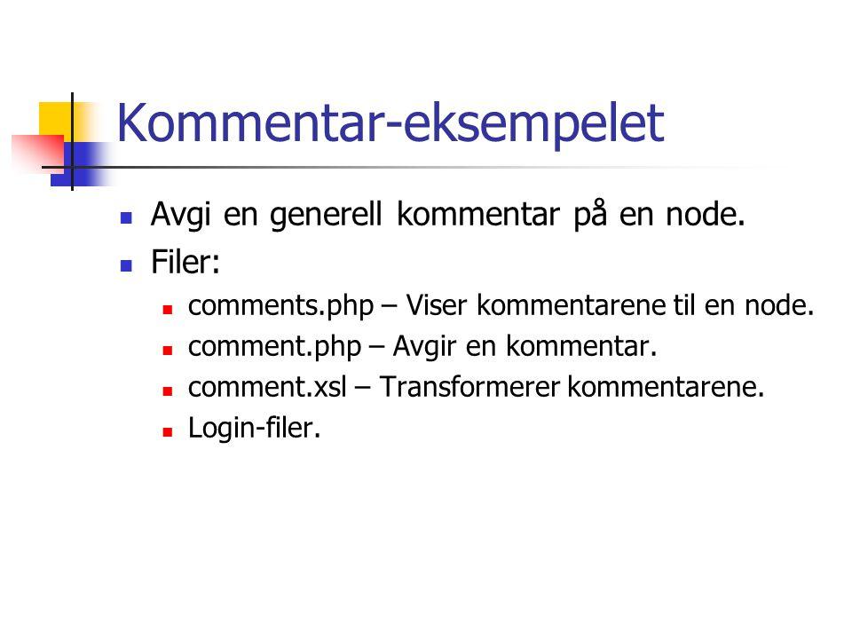 Kommentar-eksempelet Avgi en generell kommentar på en node.