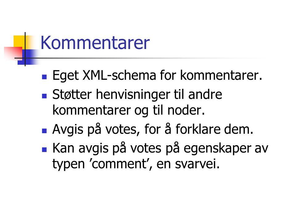 Kommentarer Eget XML-schema for kommentarer.