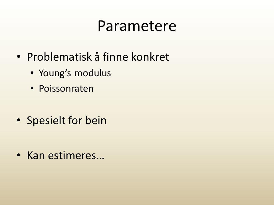 Parametere Problematisk å finne konkret Young's modulus Poissonraten Spesielt for bein Kan estimeres…