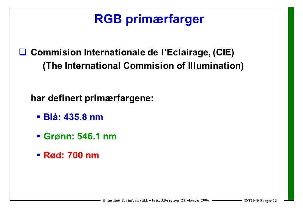 INF1040-Farger-13 © Institutt for informatikk – Fritz Albregtsen 25. oktober 2006 RGB primærfarger  Commision Internationale de l'Eclairage, (CIE) (T