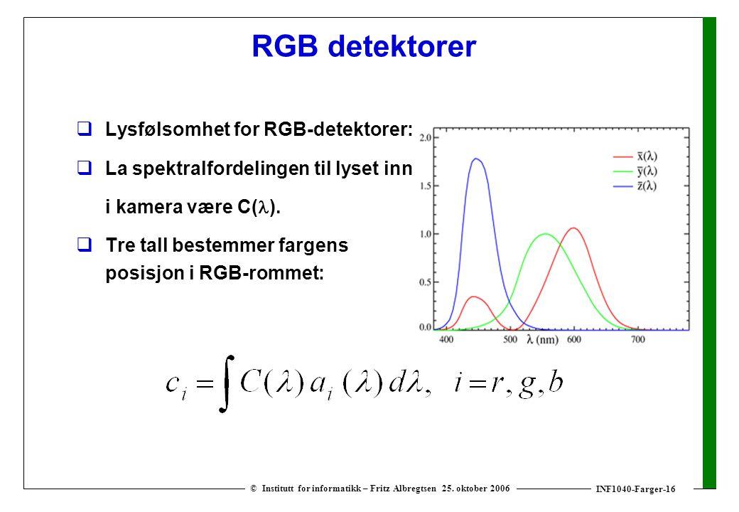 INF1040-Farger-16 © Institutt for informatikk – Fritz Albregtsen 25. oktober 2006 RGB detektorer  Lysfølsomhet for RGB-detektorer:  La spektralforde