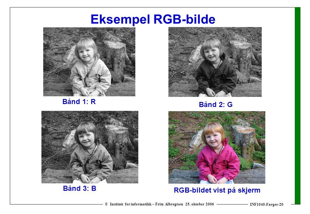 INF1040-Farger-20 © Institutt for informatikk – Fritz Albregtsen 25. oktober 2006 Eksempel RGB-bilde Bånd 1: R Bånd 2: G Bånd 3: B RGB-bildet vist på