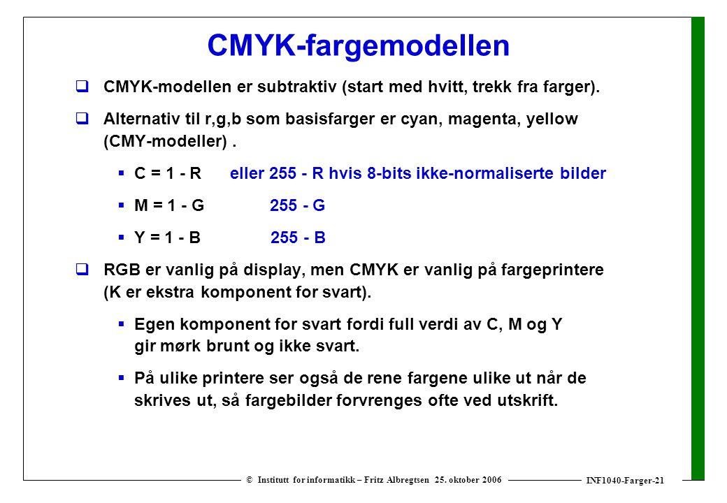 INF1040-Farger-21 © Institutt for informatikk – Fritz Albregtsen 25. oktober 2006 CMYK-fargemodellen  CMYK-modellen er subtraktiv (start med hvitt, t