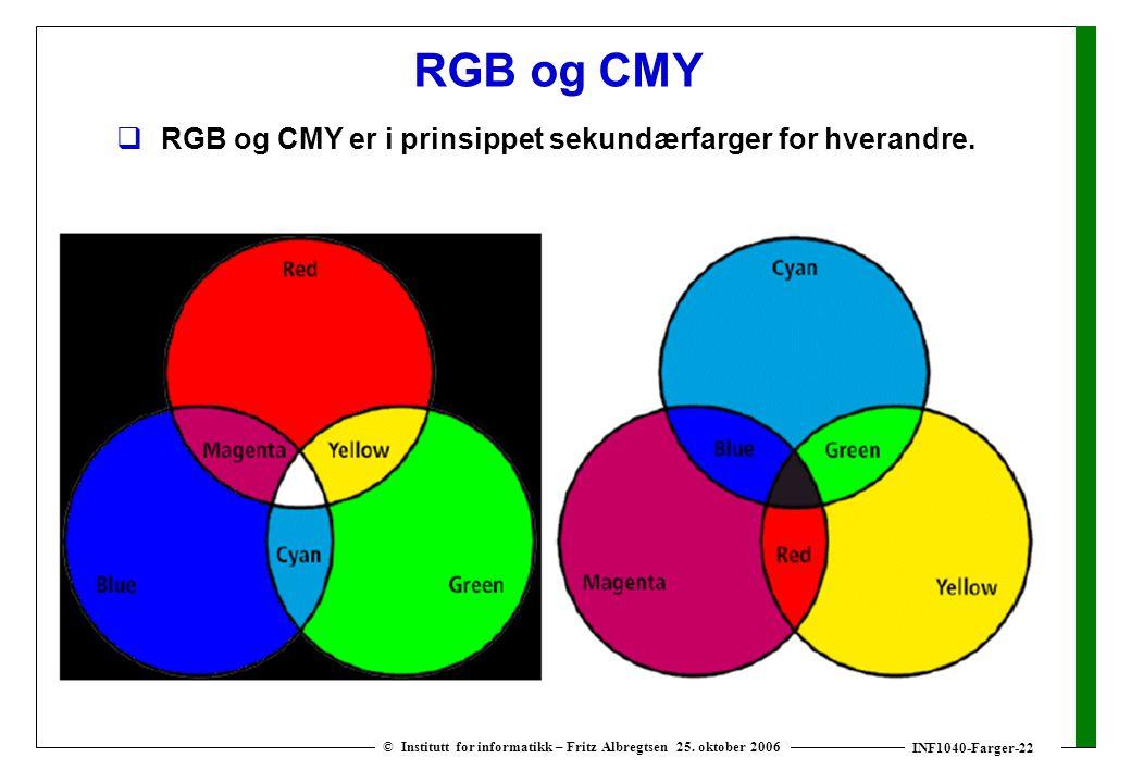 INF1040-Farger-22 © Institutt for informatikk – Fritz Albregtsen 25. oktober 2006 RGB og CMY  RGB og CMY er i prinsippet sekundærfarger for hverandre