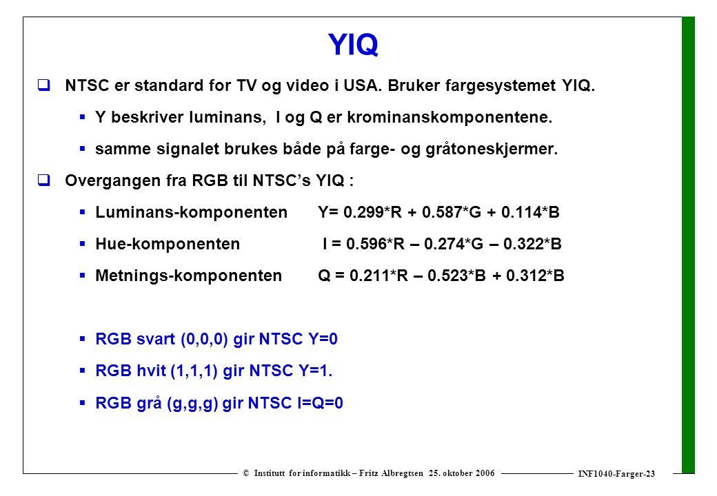 INF1040-Farger-23 © Institutt for informatikk – Fritz Albregtsen 25. oktober 2006 YIQ  NTSC er standard for TV og video i USA. Bruker fargesystemet Y