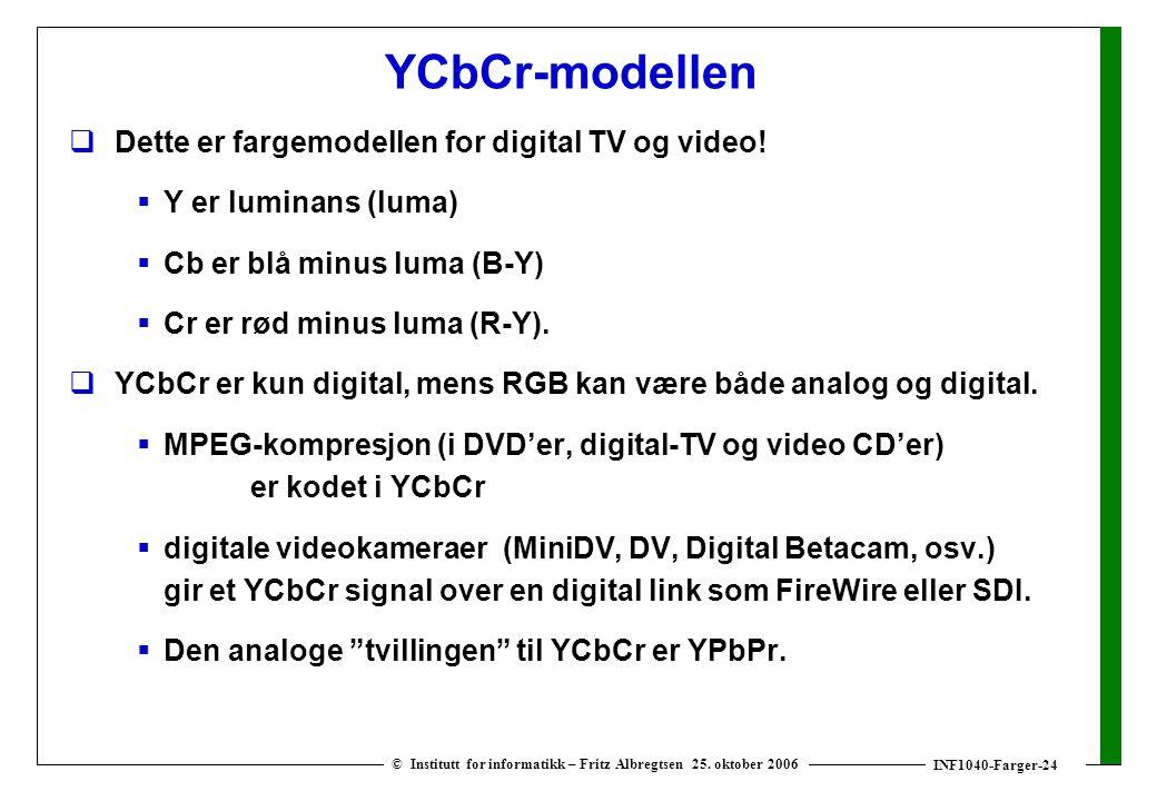 INF1040-Farger-24 © Institutt for informatikk – Fritz Albregtsen 25. oktober 2006 YCbCr-modellen  Dette er fargemodellen for digital TV og video!  Y