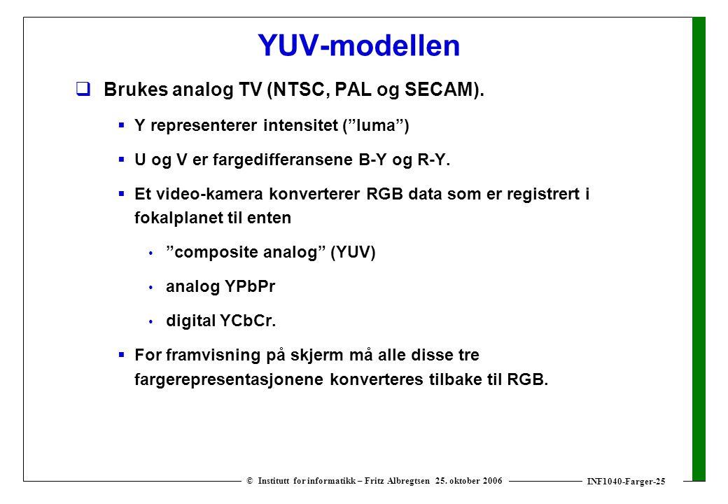 INF1040-Farger-25 © Institutt for informatikk – Fritz Albregtsen 25. oktober 2006 YUV-modellen  Brukes analog TV (NTSC, PAL og SECAM).  Y represente