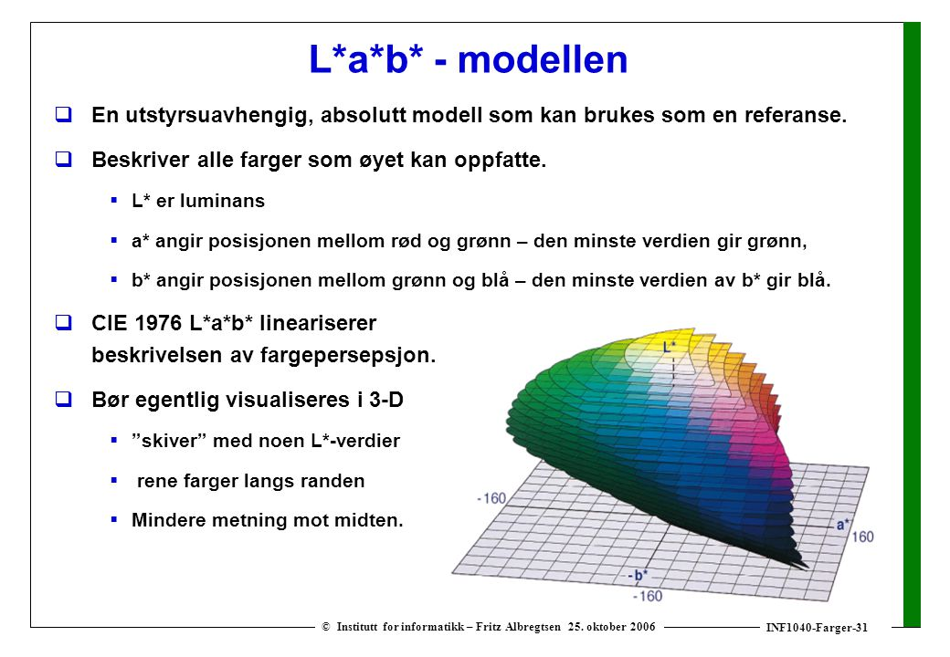 INF1040-Farger-31 © Institutt for informatikk – Fritz Albregtsen 25. oktober 2006 L*a*b* - modellen  En utstyrsuavhengig, absolutt modell som kan bru