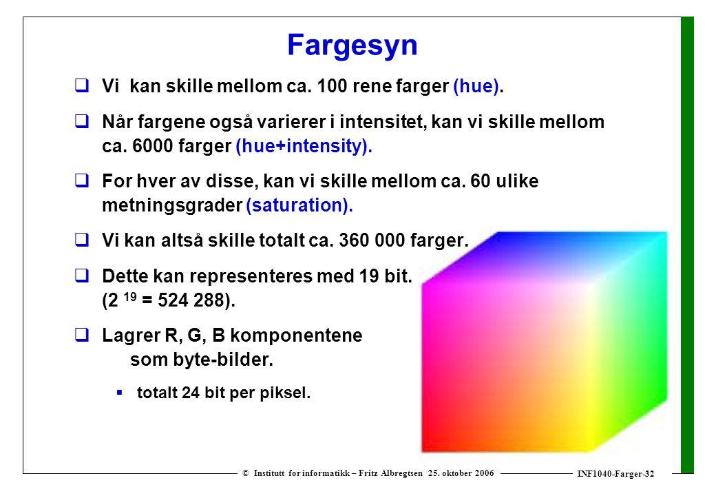 INF1040-Farger-32 © Institutt for informatikk – Fritz Albregtsen 25. oktober 2006 Fargesyn  Vi kan skille mellom ca. 100 rene farger (hue).  Når far