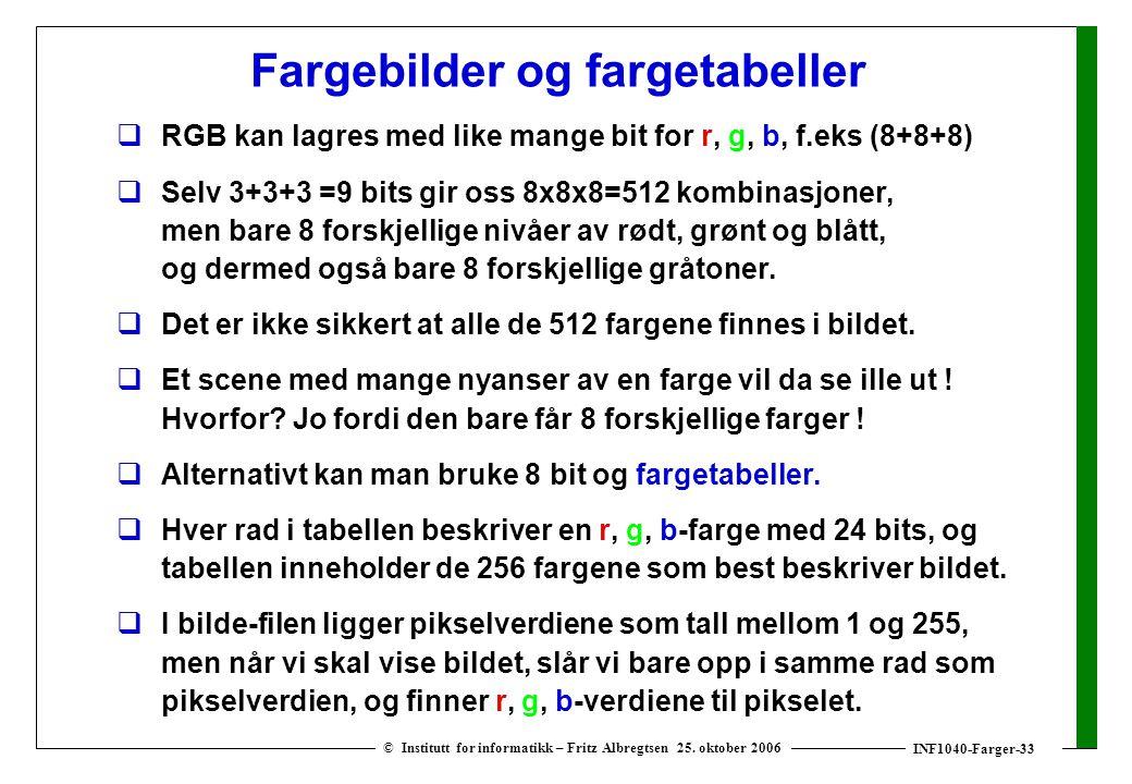 INF1040-Farger-33 © Institutt for informatikk – Fritz Albregtsen 25. oktober 2006 Fargebilder og fargetabeller  RGB kan lagres med like mange bit for