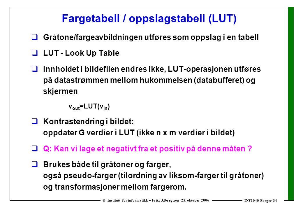 INF1040-Farger-34 © Institutt for informatikk – Fritz Albregtsen 25. oktober 2006 Fargetabell / oppslagstabell (LUT)  Gråtone/fargeavbildningen utfør