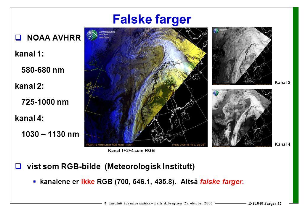 INF1040-Farger-52 © Institutt for informatikk – Fritz Albregtsen 25. oktober 2006 Falske farger  NOAA AVHRR kanal 1: 580-680 nm kanal 2: 725-1000 nm