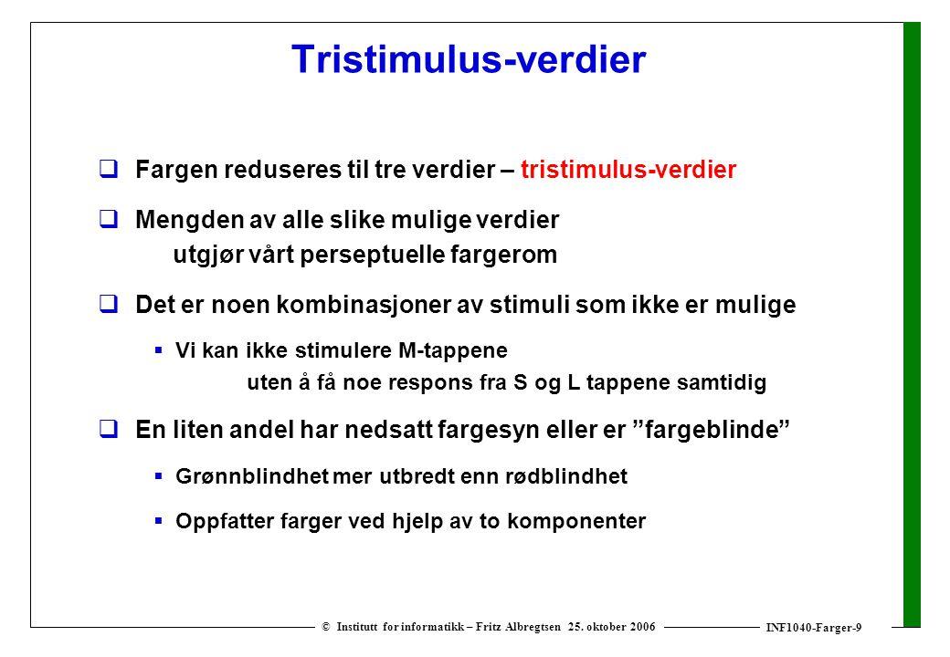INF1040-Farger-9 © Institutt for informatikk – Fritz Albregtsen 25. oktober 2006 Tristimulus-verdier  Fargen reduseres til tre verdier – tristimulus-