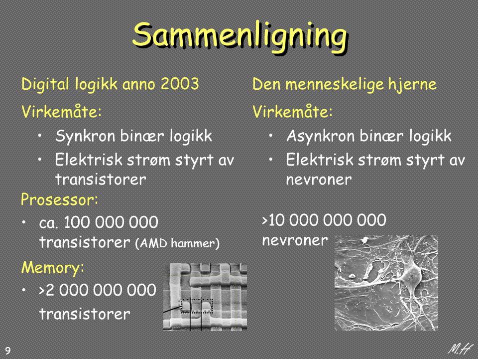 9 Synkron binær logikkAsynkron binær logikk Elektrisk strøm styrt av transistorer Elektrisk strøm styrt av nevroner Virkemåte: Digital logikk anno 2003Den menneskelige hjerne >10 000 000 000 nevroner Prosessor: ca.