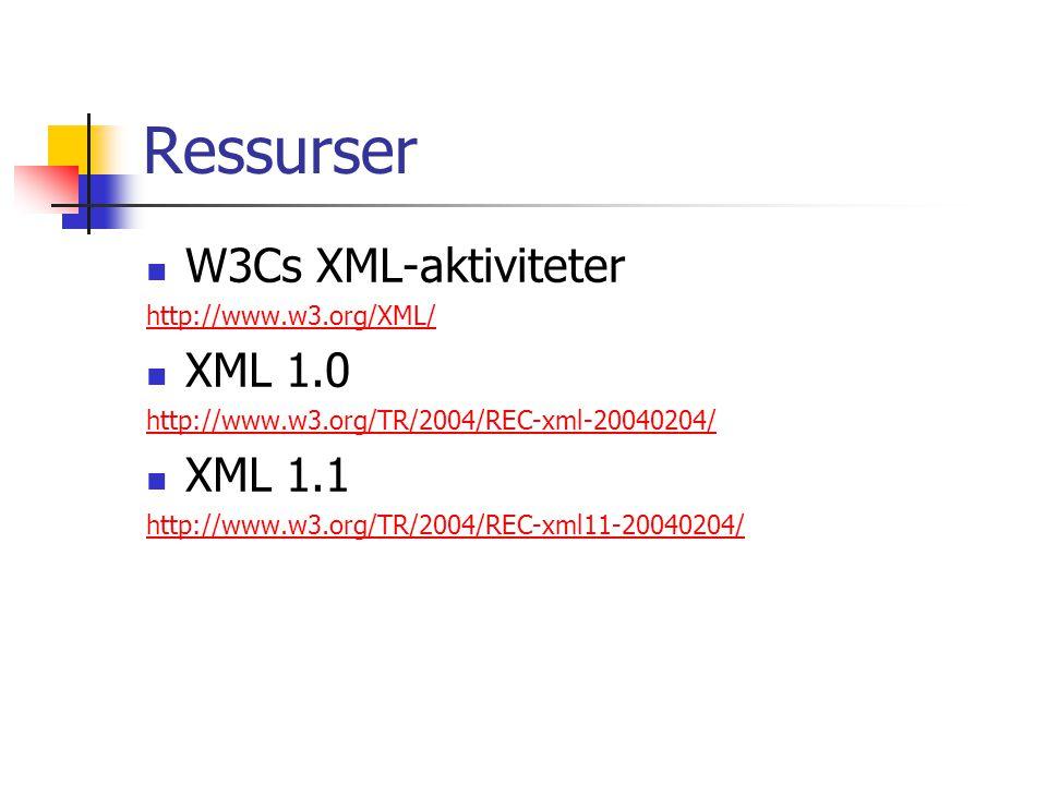 Ressurser W3Cs XML-aktiviteter http://www.w3.org/XML/ XML 1.0 http://www.w3.org/TR/2004/REC-xml-20040204/ XML 1.1 http://www.w3.org/TR/2004/REC-xml11-
