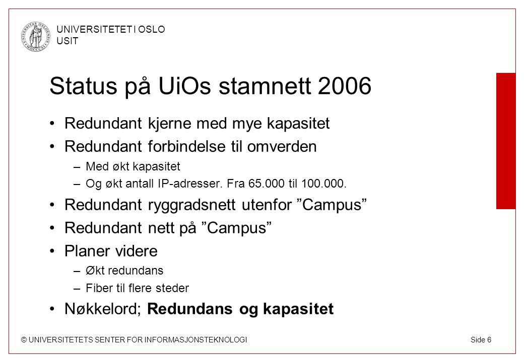 © UNIVERSITETETS SENTER FOR INFORMASJONSTEKNOLOGI UNIVERSITETET I OSLO USIT Side 37 Studentbynett Studentbynettet begynner å bli stort –Kringsjå og Fjellbirkeland 1.696 1.000 mb/s –Bjølsen 1.072 100 mb/s, blir 1.000 i 2006 –Sogn 913 1.000 mb/s –Vestgrensa 243 1.000 mb/s –Grünerløkka 349 100 mb/s, blir 1.000 i 2006 –Ullevål 102 100 mb/s –Blindern studenterhjem ca 200 100 mb/s Pr i dag ca 4.500 hybler med nett, blir ca 6.000 ila 2007 I 2006 skjer endel –Overgang til 802.1x-autentisering –Forsiktig åpning av flere tjenester etter innspill fra brukerne –Skifte fra 129.240.0.0/16 til 193.157.128.0/17-adresser –Ca 700 nye hybler på nett