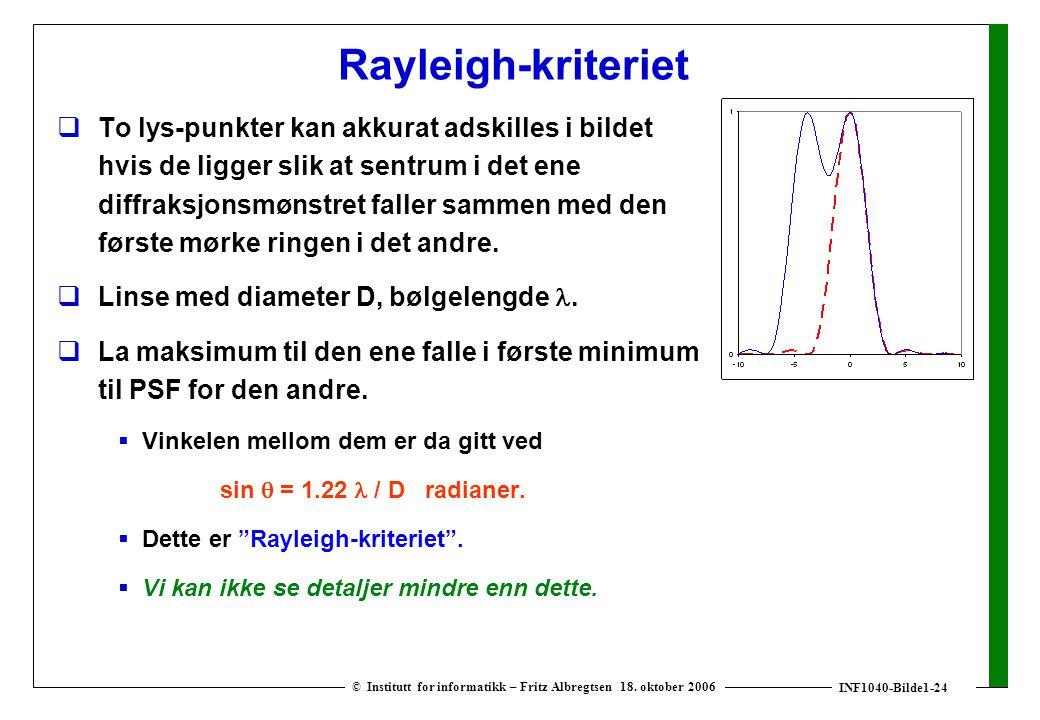 INF1040-Bilde1-24 © Institutt for informatikk – Fritz Albregtsen 18. oktober 2006 Rayleigh-kriteriet  To lys-punkter kan akkurat adskilles i bildet h