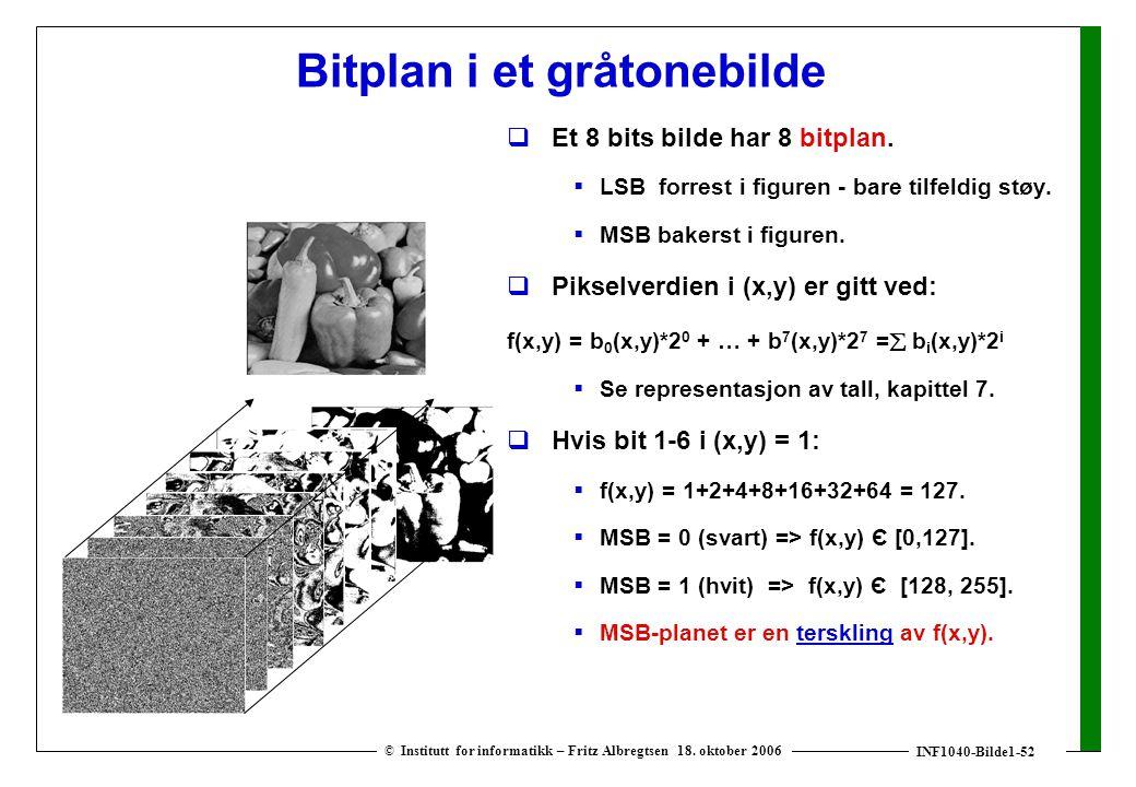 INF1040-Bilde1-52 © Institutt for informatikk – Fritz Albregtsen 18. oktober 2006 Bitplan i et gråtonebilde  Et 8 bits bilde har 8 bitplan.  LSB for