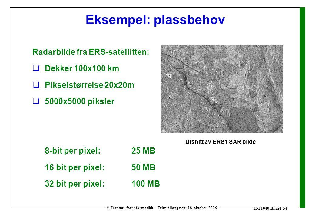 INF1040-Bilde1-54 © Institutt for informatikk – Fritz Albregtsen 18. oktober 2006 Eksempel: plassbehov Radarbilde fra ERS-satellitten:  Dekker 100x10