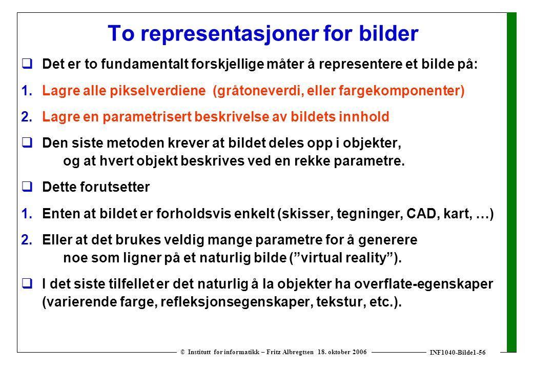 INF1040-Bilde1-56 © Institutt for informatikk – Fritz Albregtsen 18. oktober 2006 To representasjoner for bilder  Det er to fundamentalt forskjellige