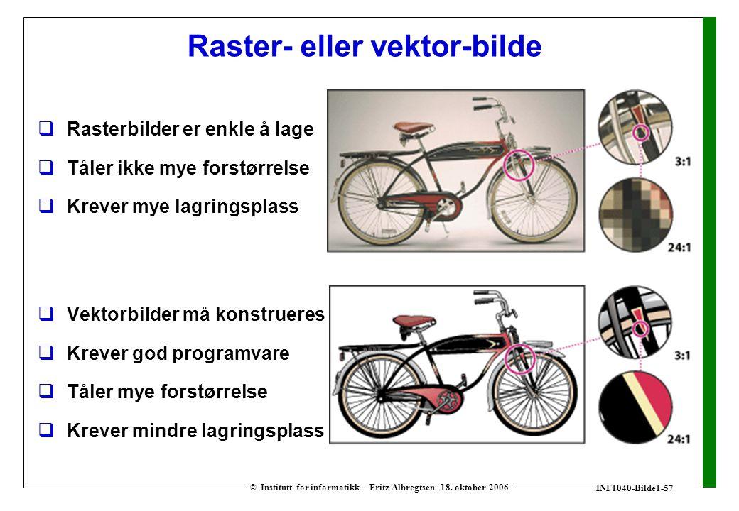 INF1040-Bilde1-57 © Institutt for informatikk – Fritz Albregtsen 18. oktober 2006 Raster- eller vektor-bilde  Rasterbilder er enkle å lage  Tåler ik