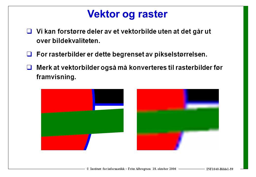 INF1040-Bilde1-59 © Institutt for informatikk – Fritz Albregtsen 18. oktober 2006  Vi kan forstørre deler av et vektorbilde uten at det går ut over b