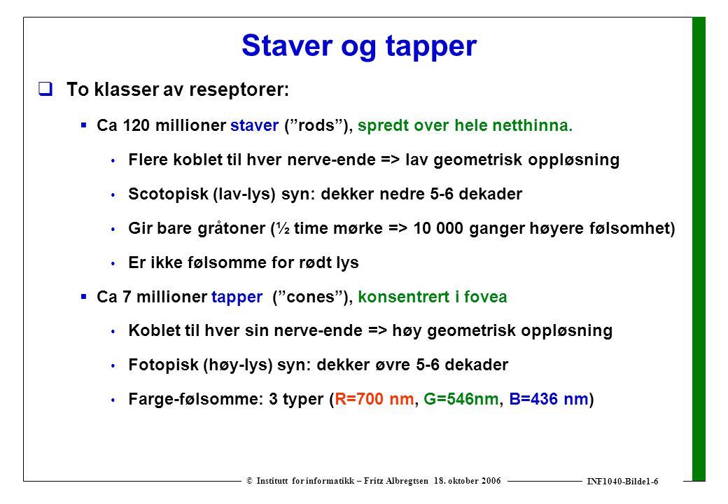 INF1040-Bilde1-6 © Institutt for informatikk – Fritz Albregtsen 18. oktober 2006 Staver og tapper  To klasser av reseptorer:  Ca 120 millioner stave