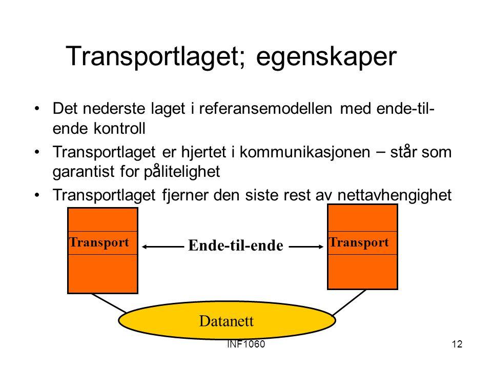 INF106012 Transportlaget; egenskaper Det nederste laget i referansemodellen med ende-til- ende kontroll Transportlaget er hjertet i kommunikasjonen –