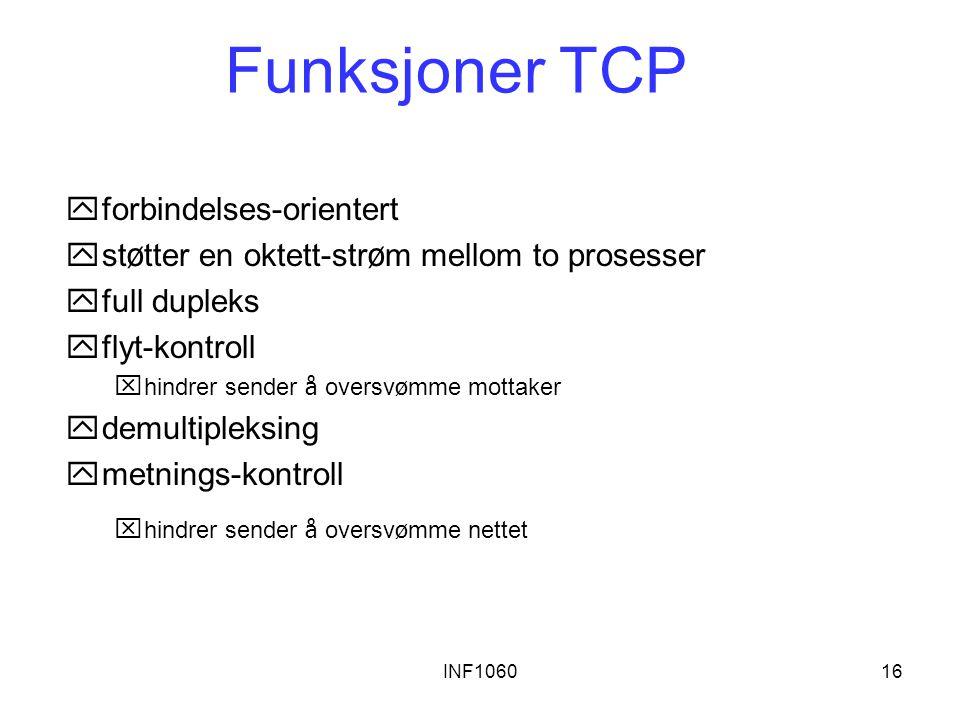 INF106016 Funksjoner TCP yforbindelses-orientert  st ø tter en oktett-str ø m mellom to prosesser yfull dupleks yflyt-kontroll  hindrer sender å ove
