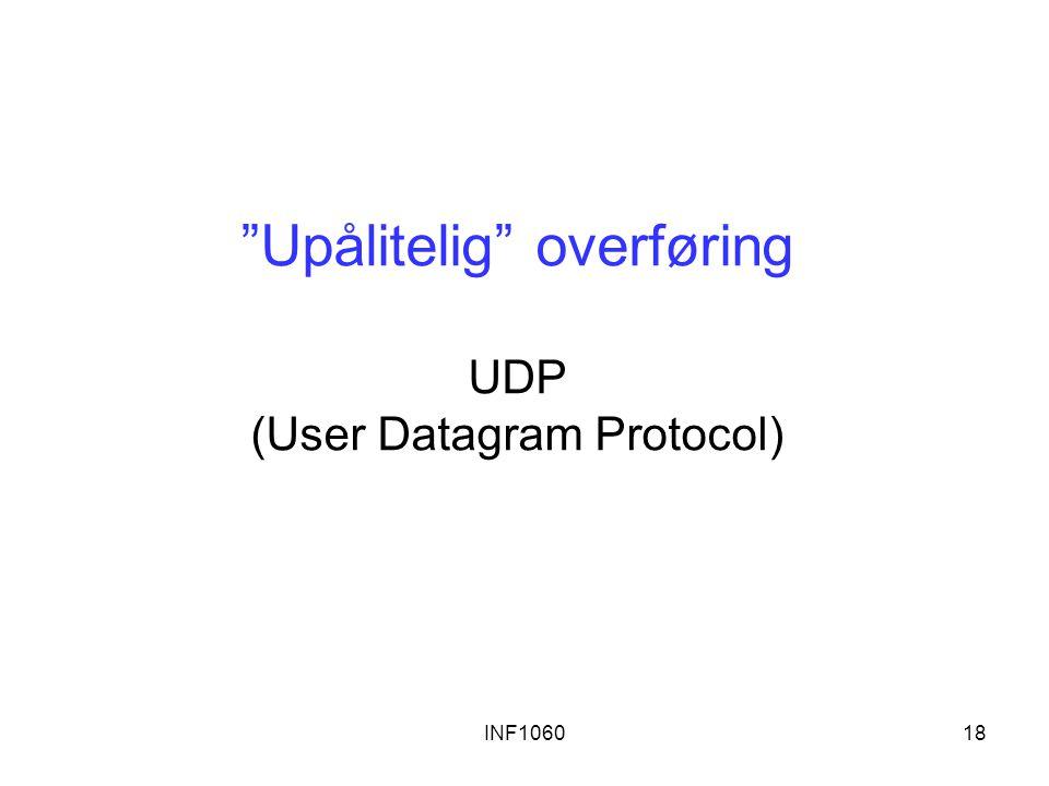 """INF106018 """"Upålitelig"""" overføring UDP (User Datagram Protocol)"""
