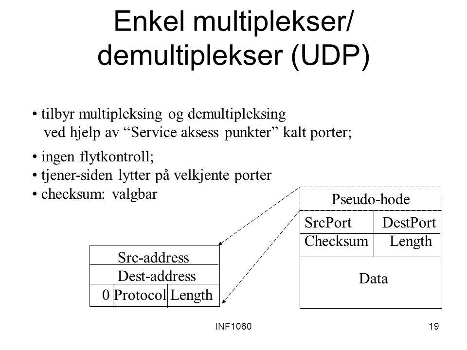 """INF106019 Enkel multiplekser/ demultiplekser (UDP) tilbyr multipleksing og demultipleksing ved hjelp av """"Service aksess punkter"""" kalt porter; SrcPort"""