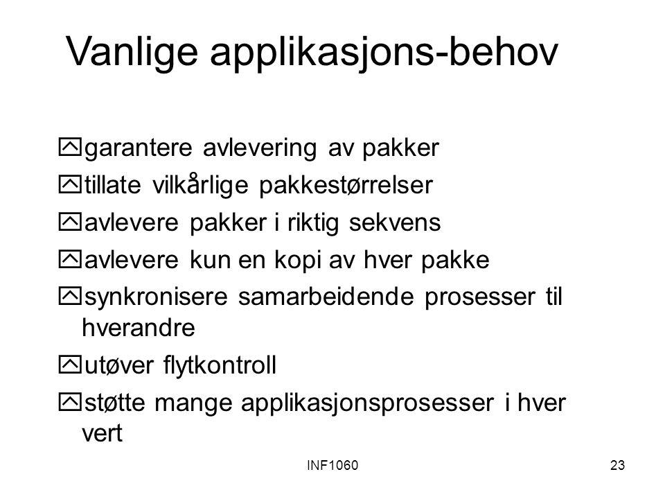 INF106023 Vanlige applikasjons-behov ygarantere avlevering av pakker  tillate vilk å rlige pakkest ø rrelser yavlevere pakker i riktig sekvens yavlev