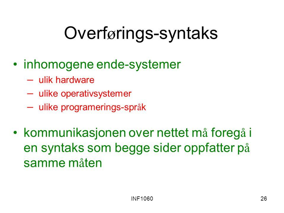 INF106026 Overf ø rings-syntaks inhomogene ende-systemer – ulik hardware – ulike operativsystemer – ulike programerings-spr å k kommunikasjonen over n