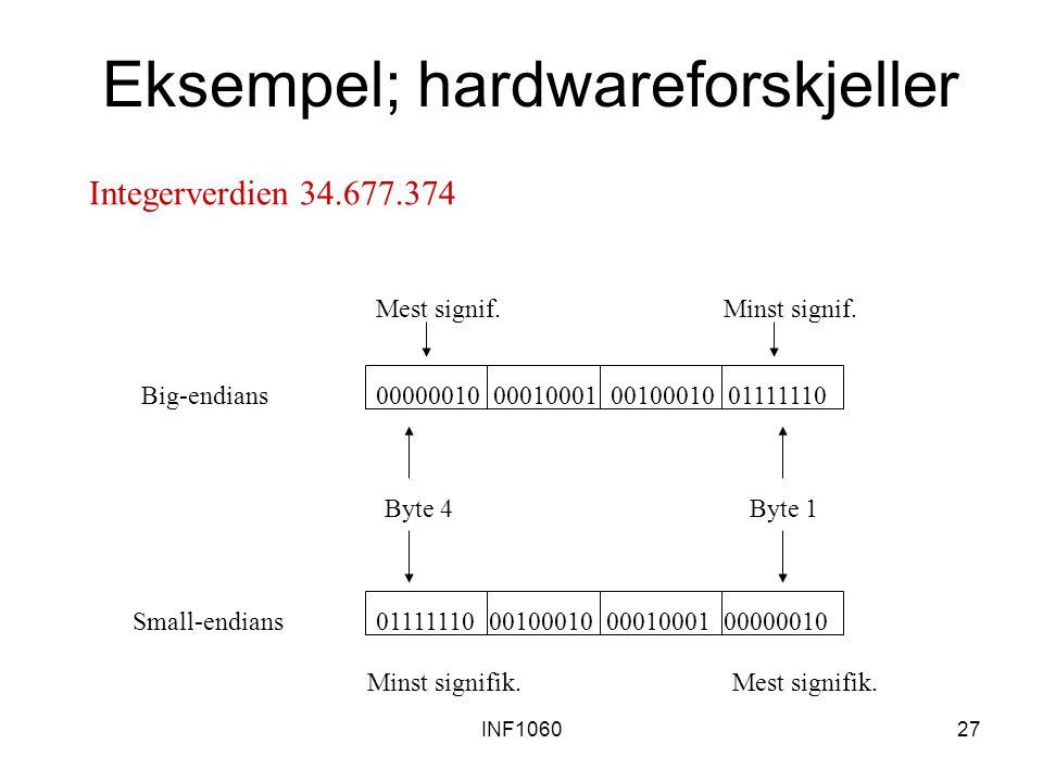 INF106027 Eksempel; hardwareforskjeller 00000010 00010001 00100010 0111111001111110 00100010 00010001 00000010 Big-endians Small-endians Byte 1Byte 4