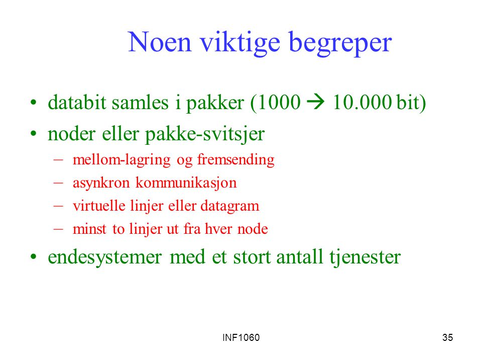 INF106035 Noen viktige begreper databit samles i pakker (1000  10.000 bit) noder eller pakke-svitsjer – mellom-lagring og fremsending – asynkron komm