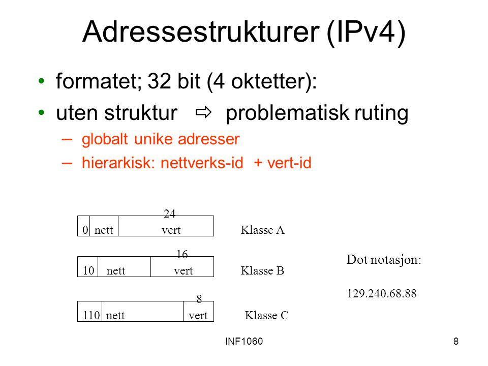 INF10608 Adressestrukturer (IPv4) formatet; 32 bit (4 oktetter): uten struktur  problematisk ruting – globalt unike adresser – hierarkisk: nettverks-