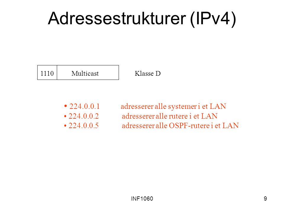 INF10609 Adressestrukturer (IPv4) 1110 Multicast Klasse D 224.0.0.1 adresserer alle systemer i et LAN 224.0.0.2 adresserer alle rutere i et LAN 224.0.
