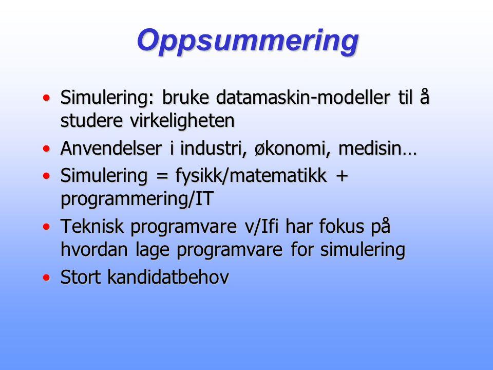 Oppsummering Simulering: bruke datamaskin-modeller til å studere virkelighetenSimulering: bruke datamaskin-modeller til å studere virkeligheten Anvendelser i industri, økonomi, medisin…Anvendelser i industri, økonomi, medisin… Simulering = fysikk/matematikk + programmering/ITSimulering = fysikk/matematikk + programmering/IT Teknisk programvare v/Ifi har fokus på hvordan lage programvare for simuleringTeknisk programvare v/Ifi har fokus på hvordan lage programvare for simulering Stort kandidatbehovStort kandidatbehov