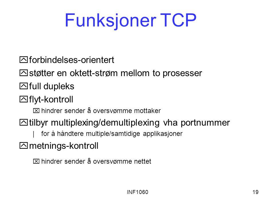 INF106019 Funksjoner TCP yforbindelses-orientert  st ø tter en oktett-str ø m mellom to prosesser yfull dupleks yflyt-kontroll  hindrer sender å ove