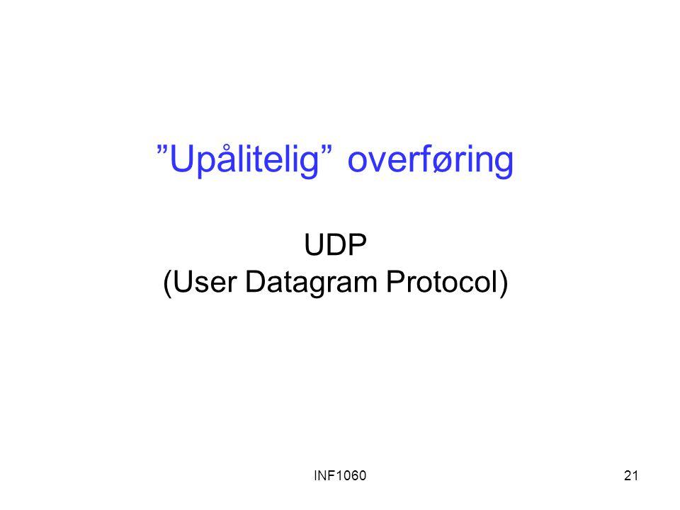 """INF106021 """"Upålitelig"""" overføring UDP (User Datagram Protocol)"""