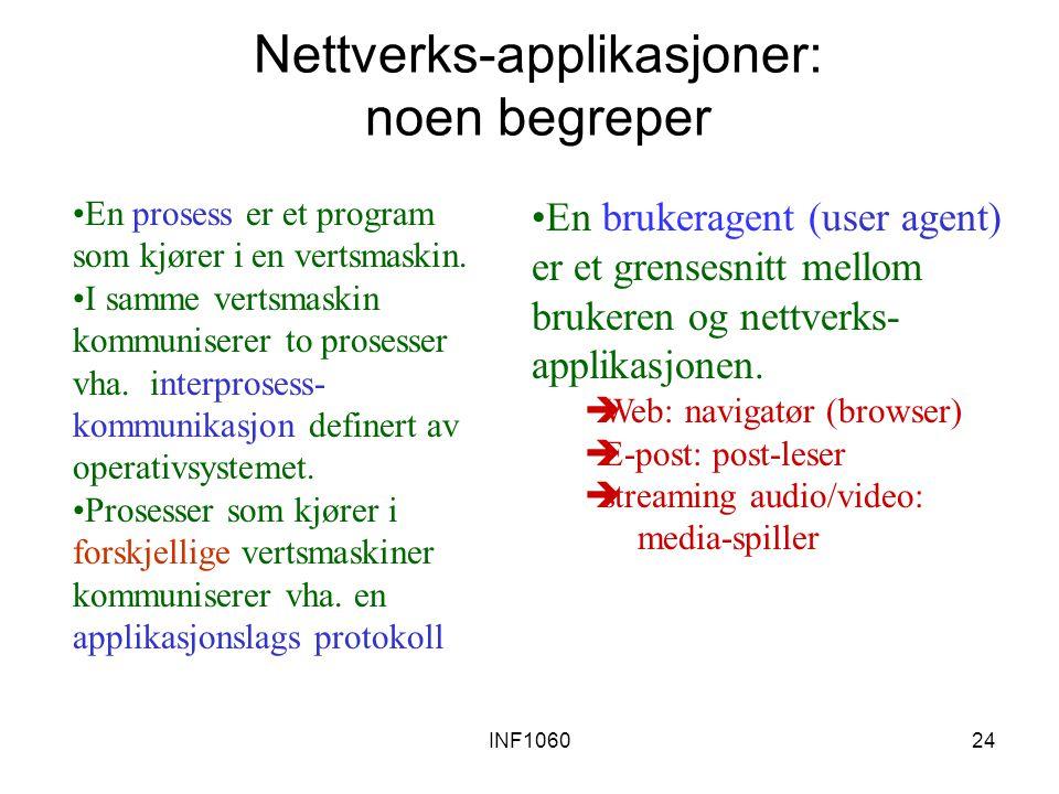 INF106024 Nettverks-applikasjoner: noen begreper En prosess er et program som kjører i en vertsmaskin. I samme vertsmaskin kommuniserer to prosesser v