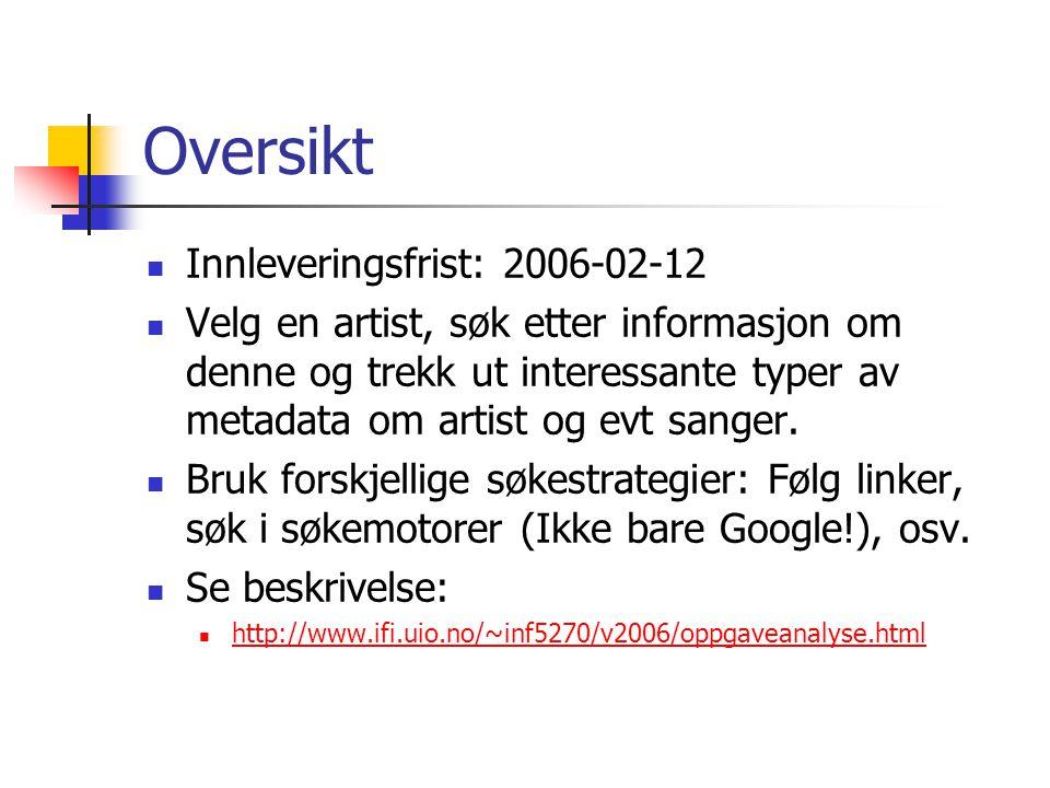 Oversikt Innleveringsfrist: 2006-02-12 Velg en artist, søk etter informasjon om denne og trekk ut interessante typer av metadata om artist og evt sanger.